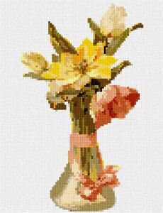 Large Needlepoint Kit pepita Bunch Yellow Tulips