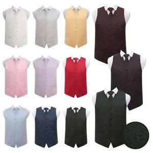 DQT Woven Swirl Patterned Black /& Green Mens Wedding Waistcoat /& Tie Set