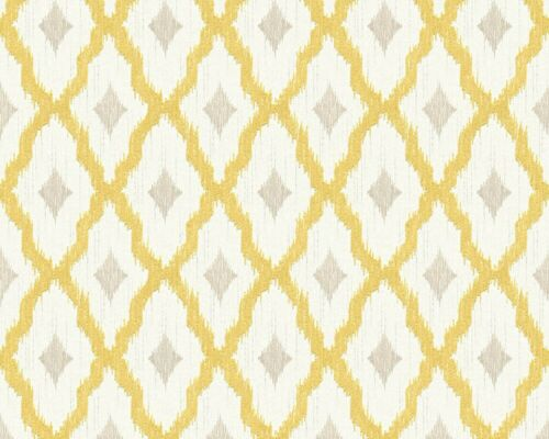 10,33£//1qm Wallpaper squared yellow white Tessuto 96197-3