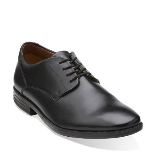 Clarks Para Hombre glenrise A Pie De Cuero Negro Elegante Casual Zapatos Estilo 26107755
