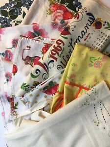 Vintage-Kitchen-Towels-and-Aprons-Lot-Used-Items