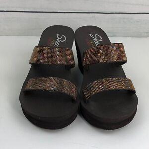 Details about Skechers Premium Yoga Foam Open Toe Brown Wedge Sandal Shoes Size 7 A0400