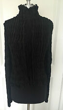 NWOT Womens YSL Rive Gauche Yves Saint Laurent Black Cardigan Sweater/Jacket L