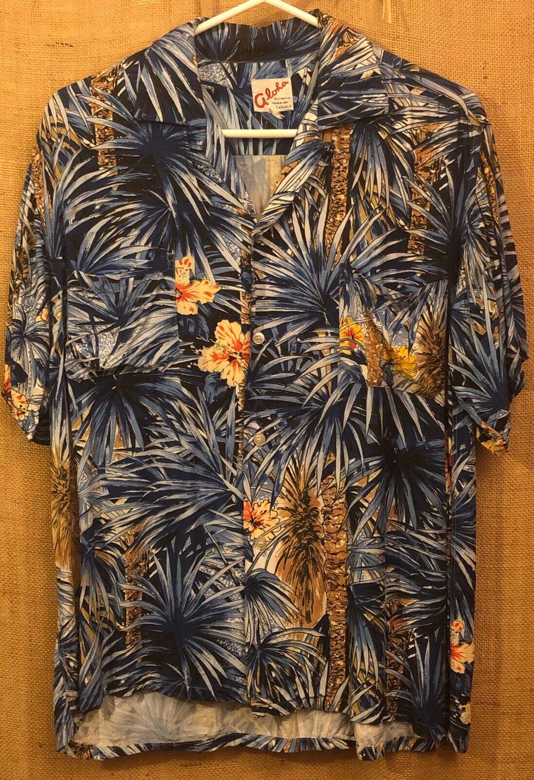 """Vintage 1950's - 60's """"Aloha"""" Blue Palm Trees Ray… - image 1"""