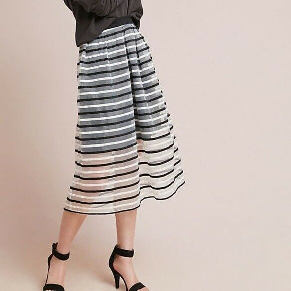Anthropologie Eva Franco Striped Tulle Skirt 12