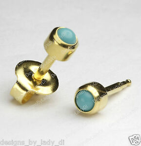 Image Is Loading Gold Ear Piercing Earrings Studs 4mm With Turquoise
