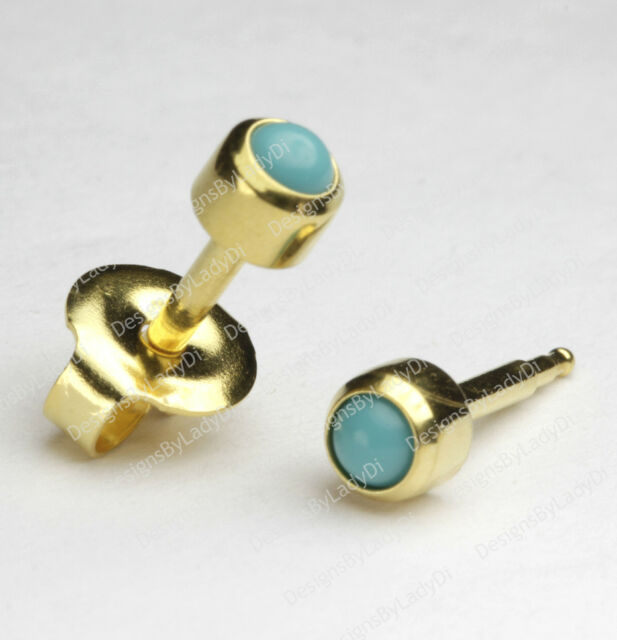 Gold Ear Piercing Earrings Studs 4mm With Turquoise Gem Hypoallergenic