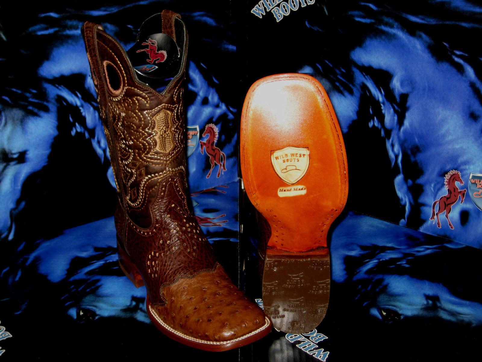 Cuadrado Genuino Avestruz salvaje WEST Marrón Rodeo Western Cowboy bota 2820307
