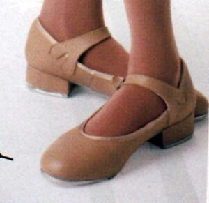 Tan-Tap-Shoes-w-JF-accent-Tap-ch-adult-sz-Run-small-Read-description-buckleover