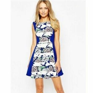 French Connection Cobalt Blue Floral Bonita Spring Skater Dress Size Uk 16 Fr 44 Ebay