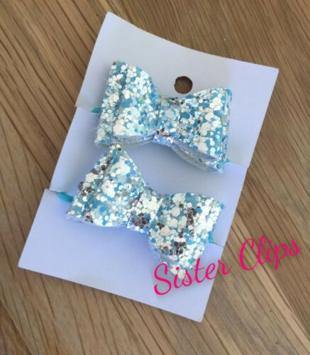 """pigtail 1.5/"""" bow hair bobbles silver blue mix glitter Set of 2 toddler"""