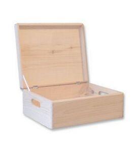 Image Is Loading Wooden Storage Box Unpainted Chest Lid Souvenir Plain