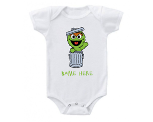 Details About Sesame Street Personalized Onesie Bodysuit Baby Oscar The Grouch Cute Shirt
