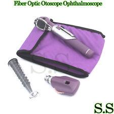 Fiber Optic Otoscope Ophthalmoscope Examination Led Diagnostic Ent Set Kit Purp