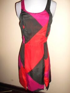 f78a4ca33c KOOKAI silk DRESS size 34   6 - 8 black red pink summer work club ...