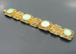 Image Is Loading Chinese Export Silver Gilt Jade Bracelet Jewelry China