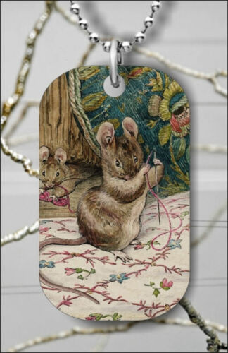 BEATRIX POTTER THE MICE AT WORK #3 DOG TAG NECKLACE PENDANT FREE CHAIN bas3Z