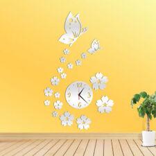 Orologio Da Parete Muro Moderno con Fiori Farfalle 3D Orologi Effetto Specchio
