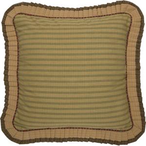 TEA CABIN Euro Sham Fabric Ruffled Green Plaid Primitive Rustic Lodge Cabin VHC