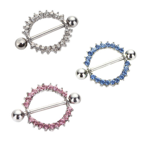 Punk Surgical Steel Sunflower Paved Circle Nipple Shield Ring Body Piercing SP