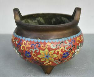 Palais-Chinois-Marque-Bronze-Cloisonne-Lotus-Fleur-bruleur-d-039-encens-Encensoir