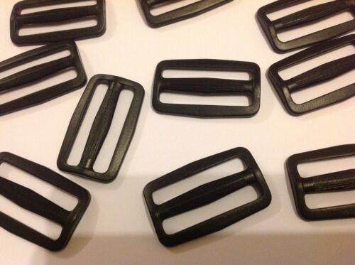 50 Mm De Plástico Negro Tri Glide Hebilla cierres X 10 Para Correas