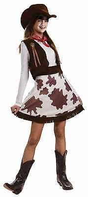 Girls Cowgirl Costume Children Vest Skirt Hat Bandanna Cow Girl Rodeo Child Kids