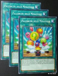 Set 3 Carte : PALLONCINI DELLE MERAVIGLIE  LEDU-IT049 Comune in Italiano YUGIOH