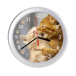 Details zu Wanduhr Kinderzimmer Katzen Kinder Uhr Katze Katzenbaby leise Name Kätzchen