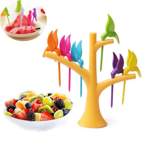 Tenedor de frutas Conjunto De Árbol Pájaro Decorativo Para Pastel Herramienta De Merienda Almuerzo Fruta Postre Navidad