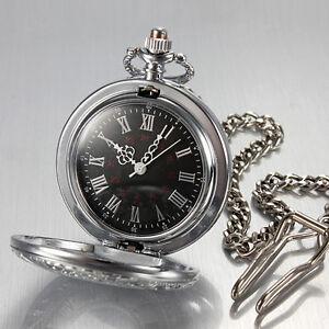 Herrenuhr-Taschenuhr-Rostfreier-Stahl-Uhr-Silberne-Pocket-Watch-2018