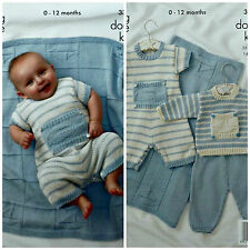 KNITTING PATTERN Baby Striped Romper Suit Set and Blanket DK King Cole 3318