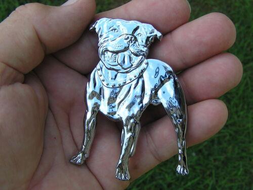 UK ~ STAFFORDSHIRE BULL TERRIER DOG BADGE Chrome Emblem *NEW suit Car Motorcycle