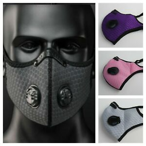 Reusable Washable Cycling Sports Face Mask With Activated Carbon Filter Uk Ebay