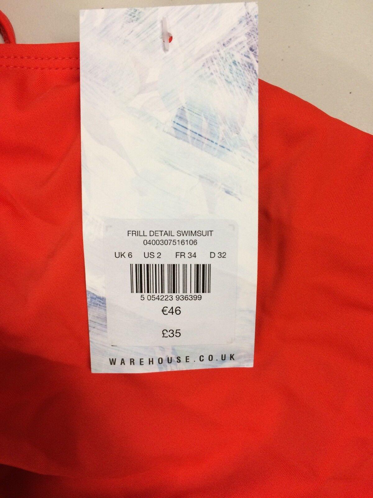 B69  Warehouse volant dettaglio Costume Da Bagno Bagno Bagno Taglia UK6 RRP 6b2227
