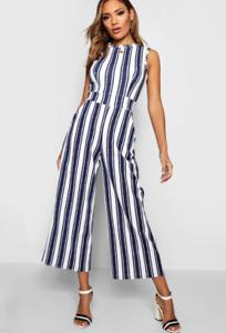 New Women Multi Colour Stripe Front Wrap Belted Wide Leg Crop Jumpsuit Size 8-16