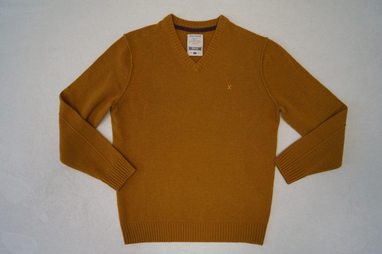 BRAX  Vico Pullover V-Ausschnitt  Gr. 50  80%Wolle gelb-sand NEU