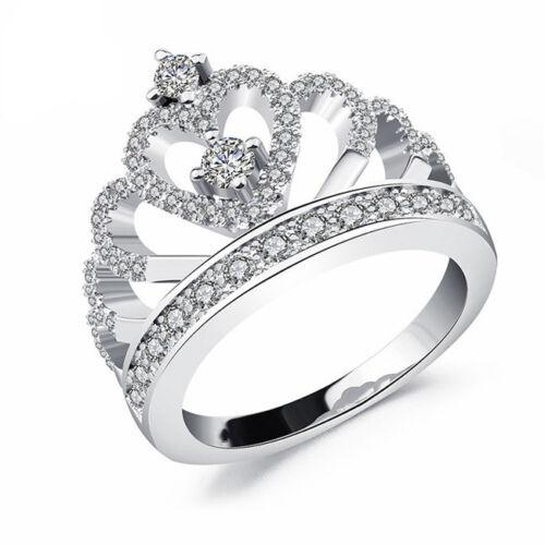 Silver Toned Women Ladies Luxury Crown Rhinestone Silver Wedding Bridal Ring Z
