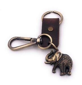 Elefante-Animal-Paquidermo-Bronce-Antiguo-Cuero-Artificial-Llavero-Colgante