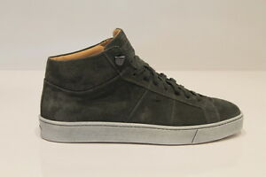 Santoni-uomo-sneaker-alta-camoscio-grigio-verde-29SU-polacco-vintage-occasione