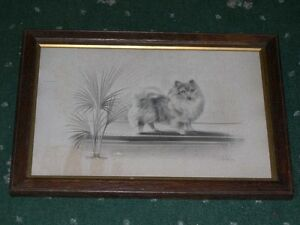 LARGE ANTIQUE ORIGINAL P0MERANIAN DOG DRAWING BY H.W. HELLINGS 1912