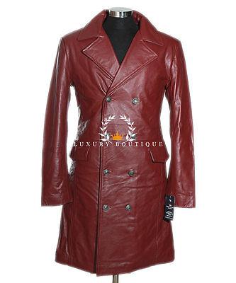 German General Major Maroon Men's Military Real Cowhide Leather Jacket Long Coat