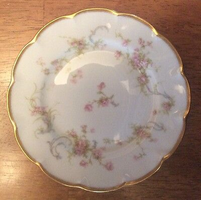 Verus Porcelain Hand Painted Clematis Dish with Gold Gilt Scalloped Trim