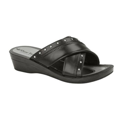 Women Slip on Mules Slider Ladies Cross Over Low Wedge Heel Comfort Sandals Shoe