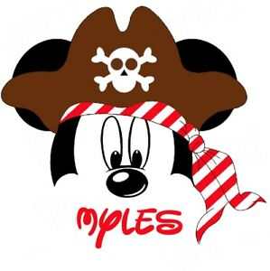 DISNEY MICKEY MOUSE  PERSONALIZED PIRATE SHIRT IRON ON TRANSFER