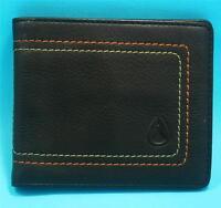 Nixon Mens Boys Card Wallet Brown Real Leather Bi Fold Brand