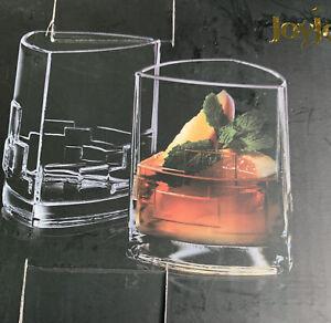 JoyJolt Revere Drinking Glass, 13 Oz Set of 2 Double Old Fashioned Glasses