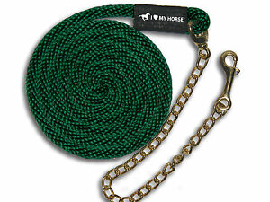 """FREE SHPG! Forest Green Dark Horse Lead Rope 24/"""" Chain USA Made 8/'"""