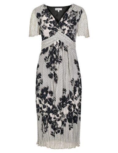 New M&S Per Una Cream Black Mink Floral Crinkle Dress Sz UK  14   rrp £45