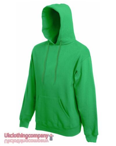 KELLY Verde Adulti Fruit of The Loom Tinta Unita Con Cappuccio Felpa Pullover Maglia Felpa con Cappuccio
